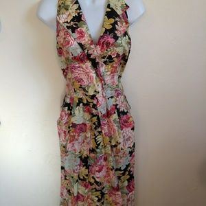 Vintage halter collar backless floral summer dress